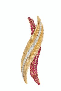 RUBY, DIAMOND AND GOLD BROOCH,